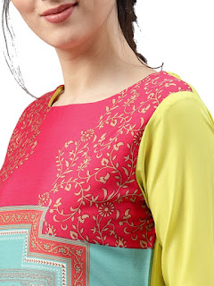 Vaamsi Dark Pink Blue Yellow Crepe Kurti Rs. 299