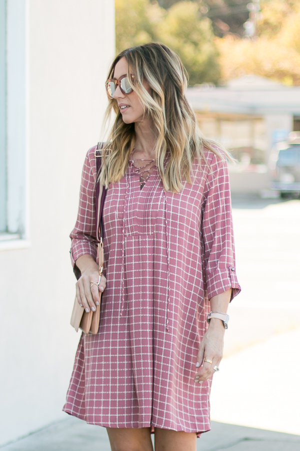 mauve lace up dress