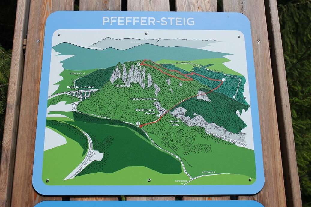 Mapa turistické trasy v okolí viaduktů a tunelů rakouského Semmeringu
