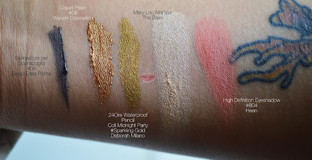 Swatches del Liquid Pearl 08 di Wycon, Sparkling Gold Pencil di Deborah e High Definition Eyeshadow 804 di Hean