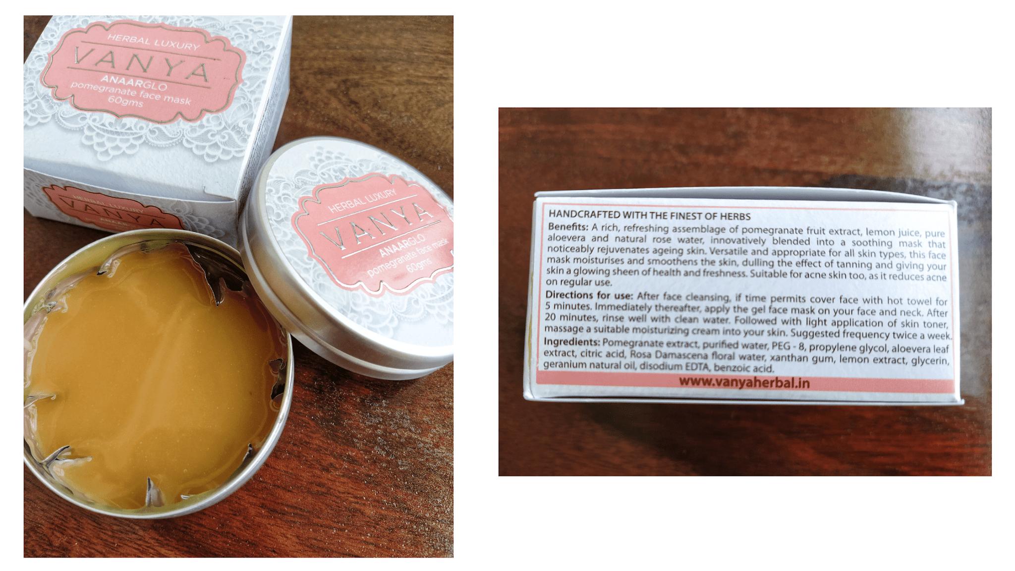 Face mask from vanya herbals