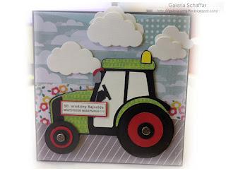 kartki tematyczne urodziny rolnika traktor z papieru