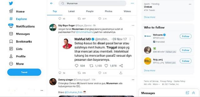 """Munarman Trending Di Twitter, Netizen Singgung Pernyataan Mahfud Soal """"Setiap Kasus Bisa Dicari Pasal Benar Salahnya"""""""