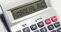Image of a calculator.  In display is the phrase: financial aid