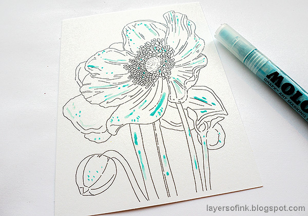 Layers of ink - Poppy Watercolor Tutorial by Anna-Karin Evaldsson. Add masking fluid.