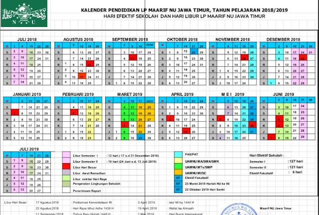 Setiap memasuki tahun pelajaran gres pemerintah  Kalender Pendidikan TP. 2018/2018 Ma'arif NU (Sekolah/Madrasah)