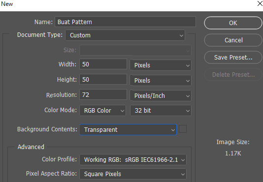 Ukuran dokumen baru untuk membuat Pattern di Photoshop