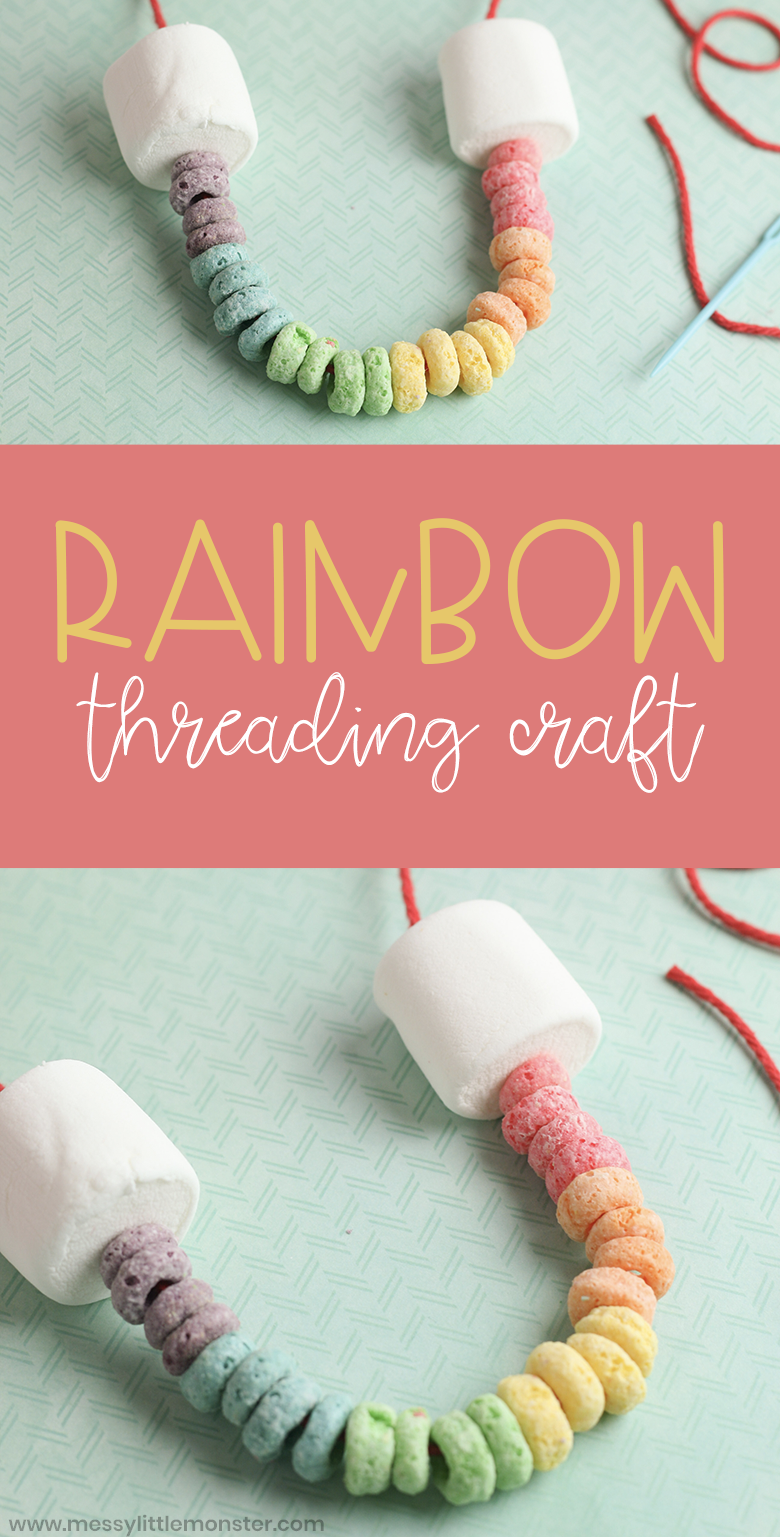 Edible rainbow necklace. Rainbow craft for toddlers and preschoolers. A threading craft and fine motor skills activity.