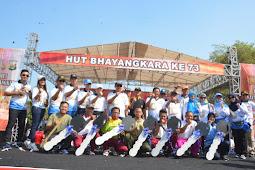 Semarak HUT Bhayangkara ke 73, Stake Holder Ikut Jalan sehat dan sepeda santai