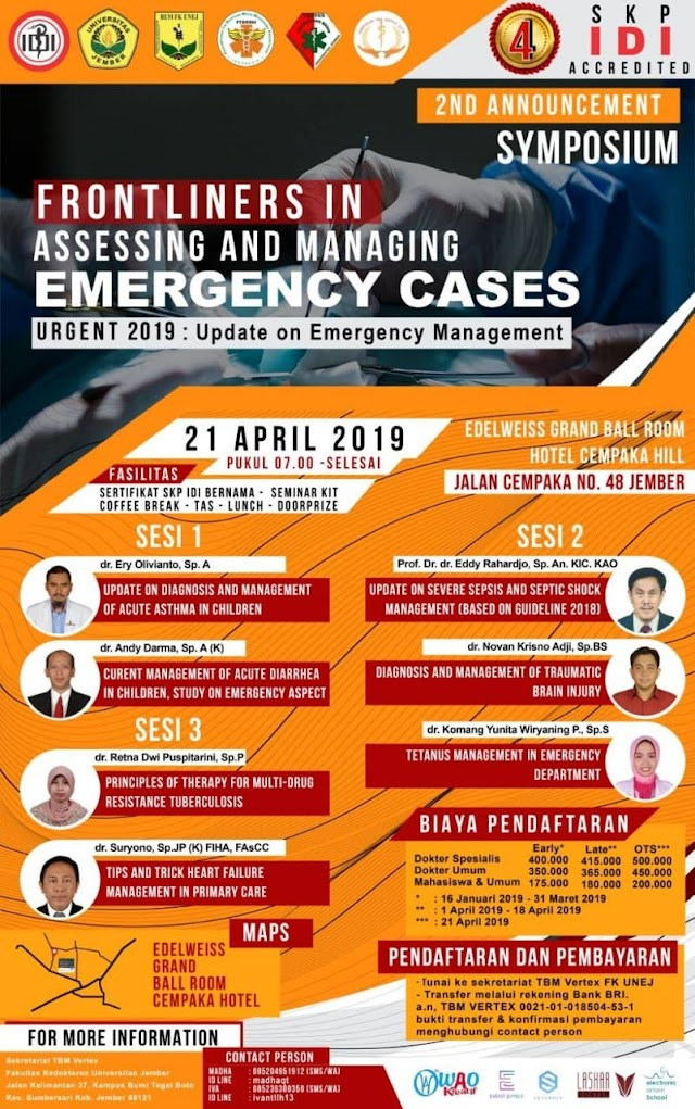 "Symposium URGENT (Update on Emergency Cases) ""Frontliners In Emergency Cases"" 21 April 2019 (4 SKP IDI)"