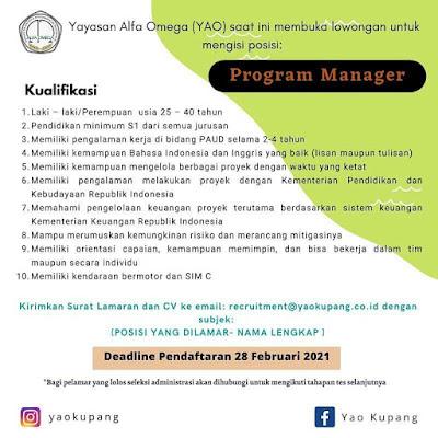 Loker Kupang Yayasan Alfa Omega Sebagai Program Manager