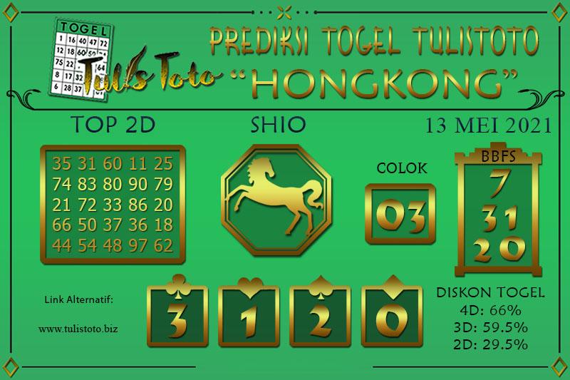 Prediksi Togel HONGKONG TULISTOTO 13 MEI 2021