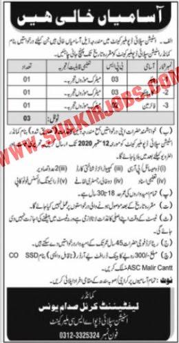 Jobs In Station Supply Depo ASC Malir Cantt Jobs September 2020