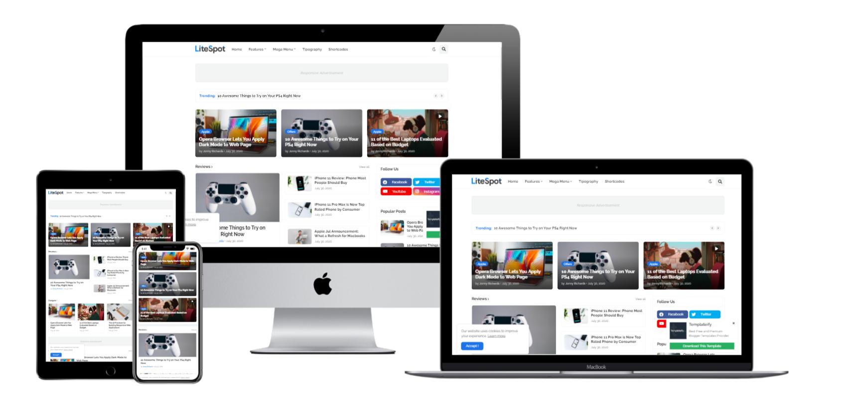 LiteSpot Premium Blogger Template Download for Free