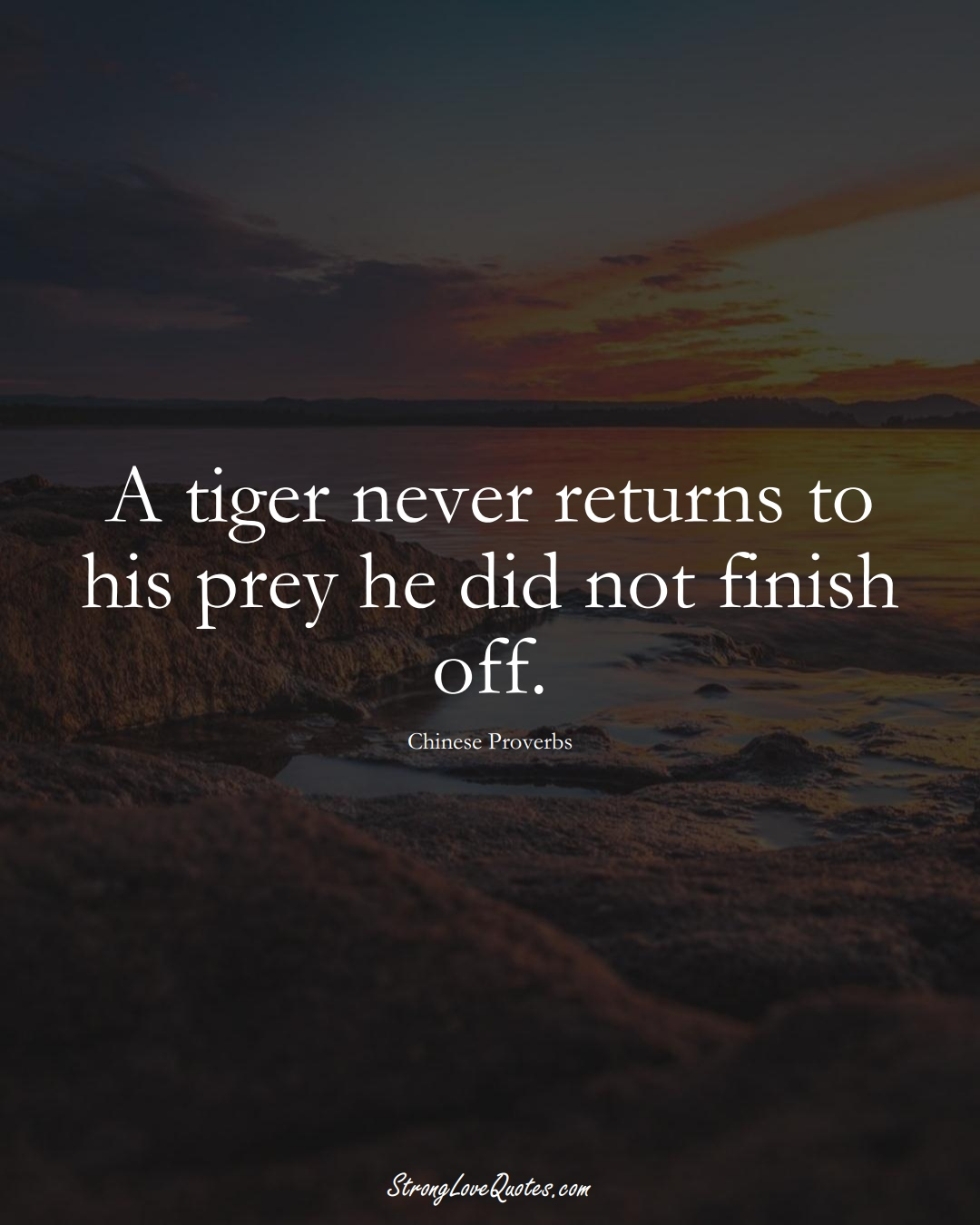 A tiger never returns to his prey he did not finish off. (Chinese Sayings);  #AsianSayings
