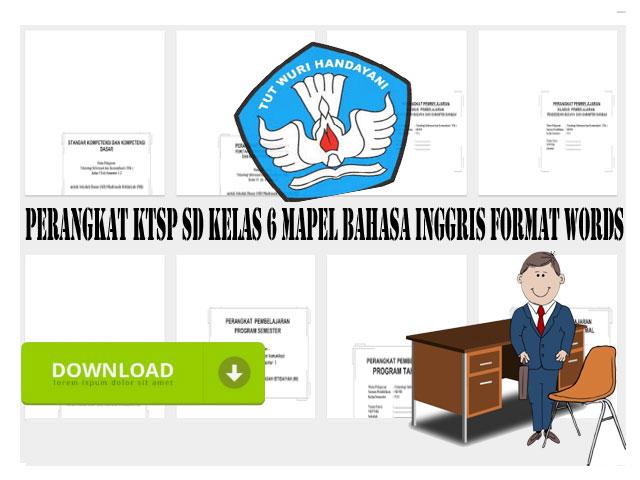 Perangkat KTSP SD Kelas 6 Mapel Bahasa Inggris Format Words