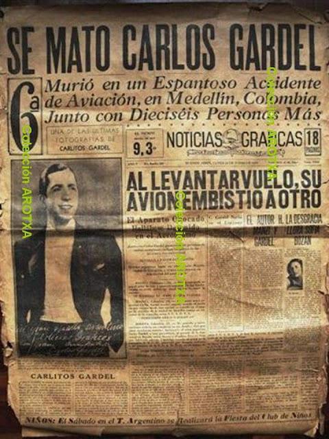 Noticia en periódico muerte Carlos Gardel