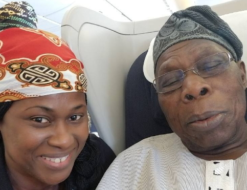uche jombo flies first class with obasanjo