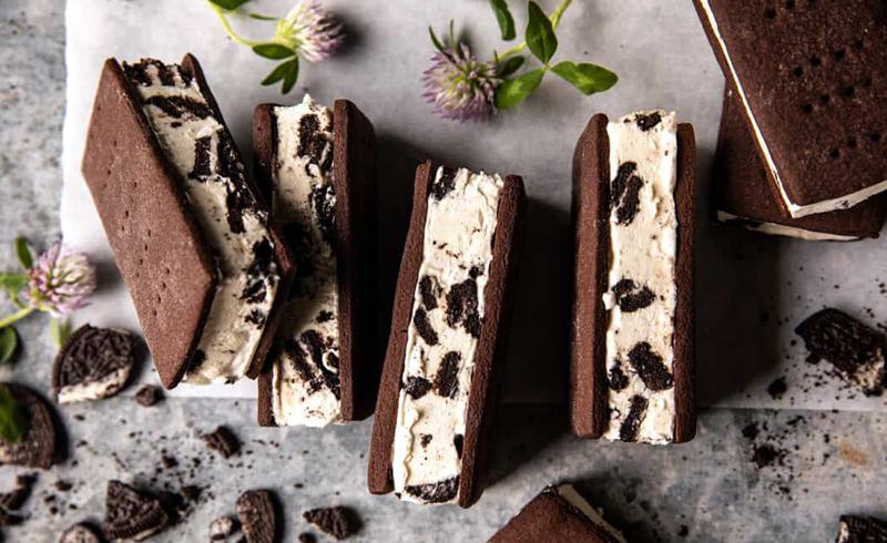 Malted Milk Cookies n' Cream Ice Cream Sandwiches
