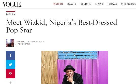 Vogue features Wizkid