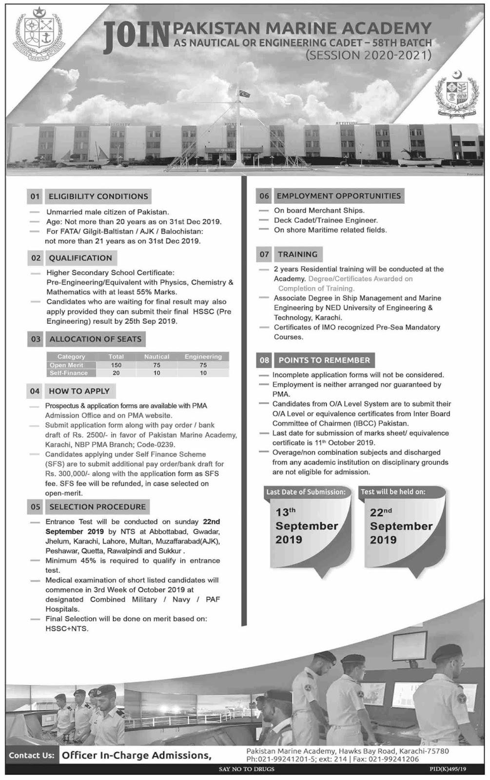 Advertisement for Pakistan Marine Academy Jobs