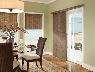 traditional brown curtain drapes sliding glass door plus braided area rug also wicker dining chairs