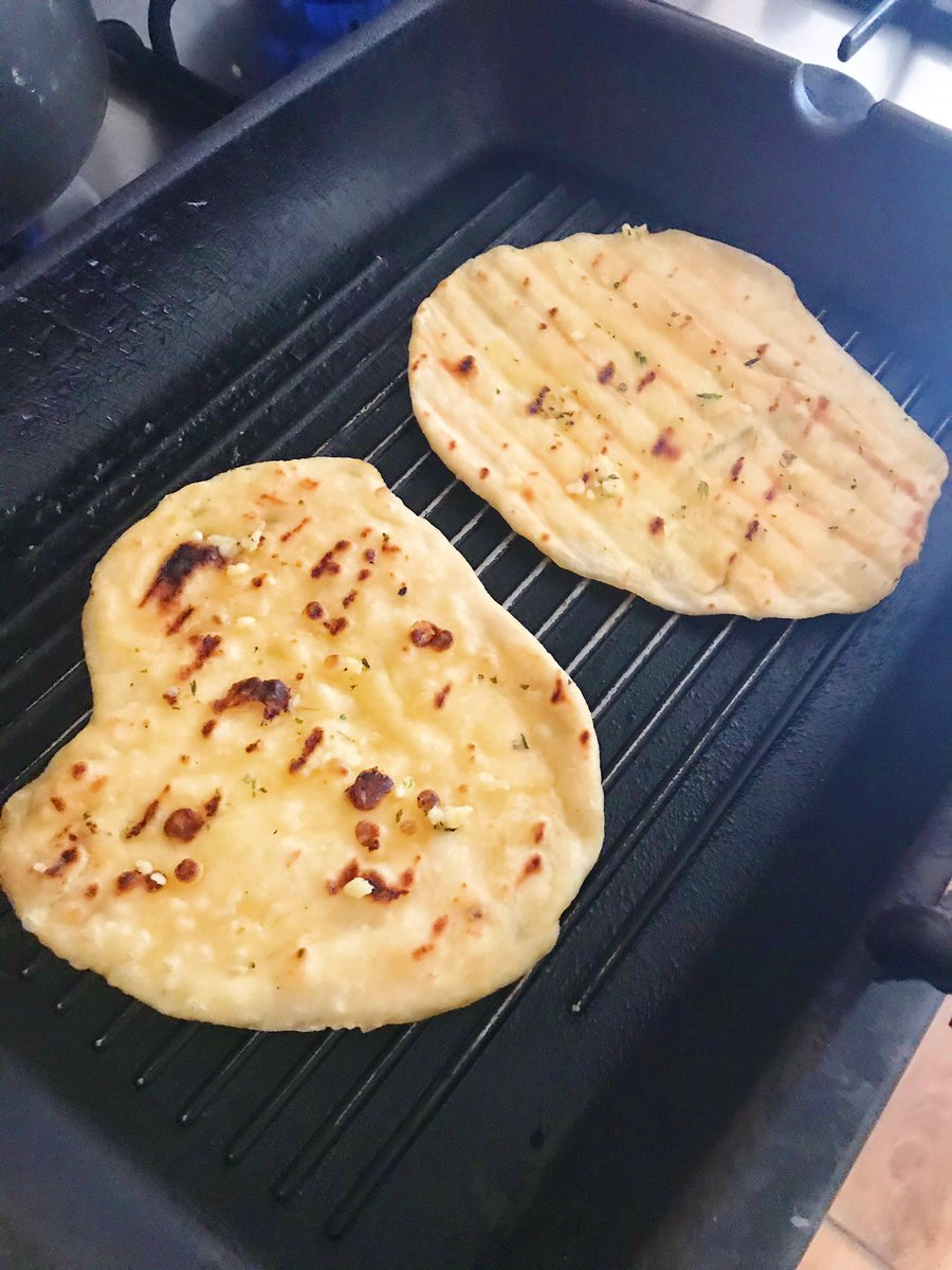flatbreads on the griddle pan cooking