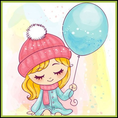 cute girl with balloon stylish dp
