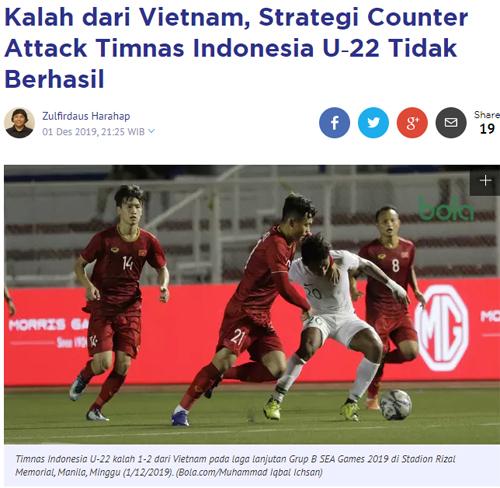 Truyền thông Indonesia ngả mũ trước U22 Việt Nam 1