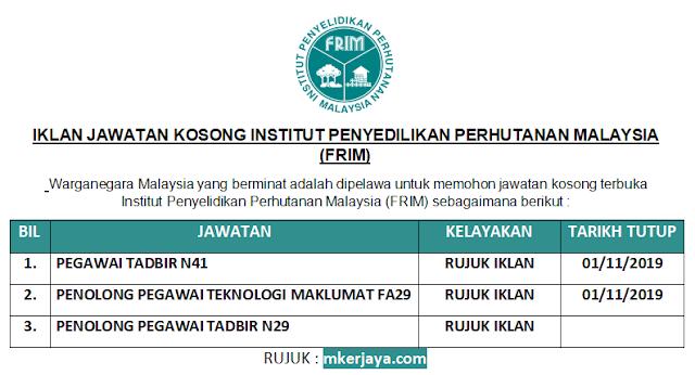 Iklan Jawatan Kosong Institut Penyelidikan Perhutanan Malaysia Frim Pelbagai Jawatan Dibuka 2019 Malaysia Kerjaya