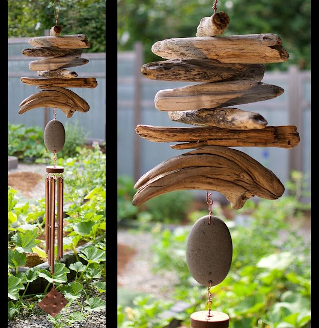 Copper, driftwood, beach stone out door wind chime by Coast Chimes