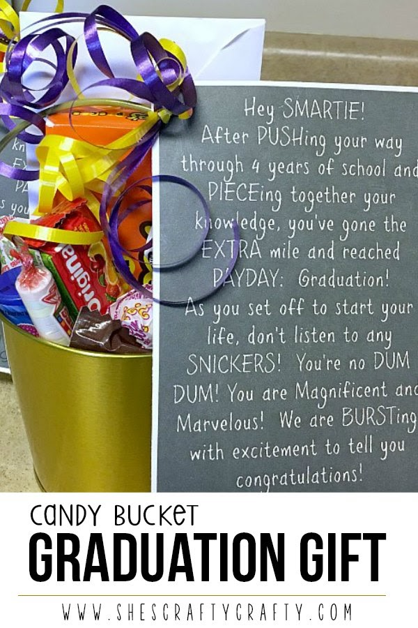 Candy Bucket Graduation Gift with free printable