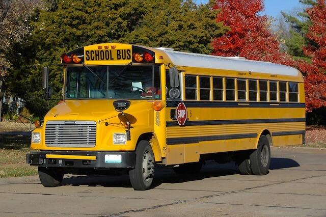 اللون الأصفر لحافلات المدارس