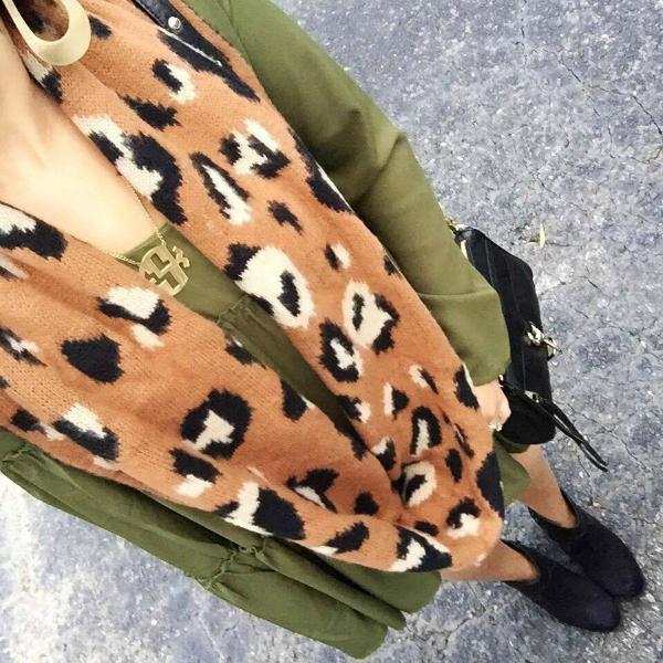 leopard scarf, olive green dress
