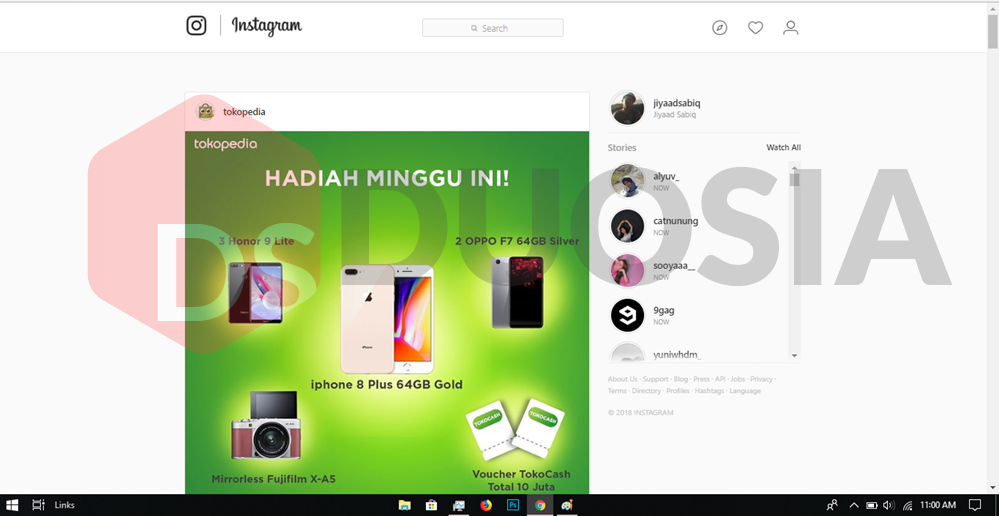 tampilan instagram pc