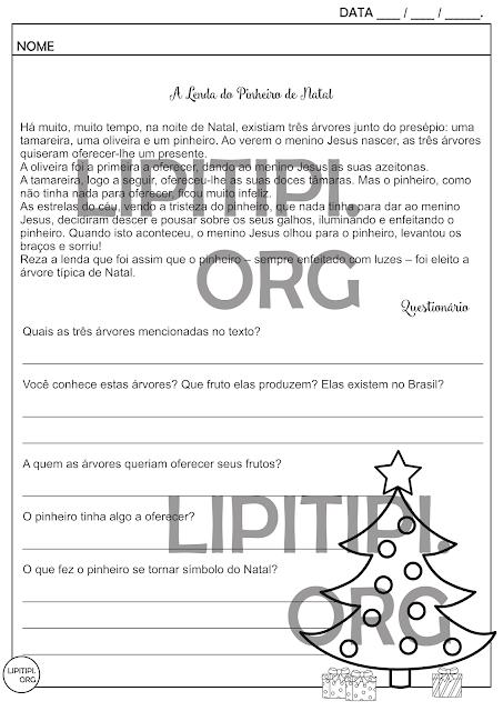Lenda do Pinheiro de Natal Atividade Interpretação Textual