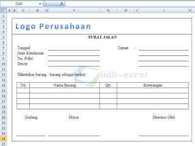 Fungsi Dan Contoh Form Surat Jalan Dengan Menggunakan Excel