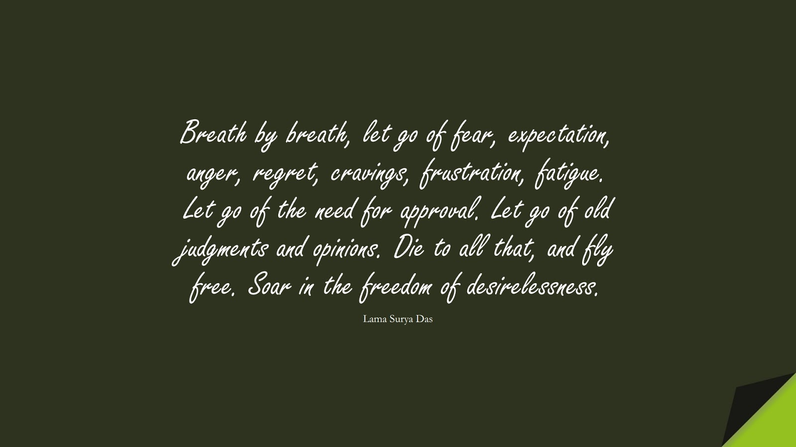 Breath by breath, let go of fear, expectation, anger, regret, cravings, frustration, fatigue. Let go of the need for approval. Let go of old judgments and opinions. Die to all that, and fly free. Soar in the freedom of desirelessness. (Lama Surya Das);  #AnxietyQuotes