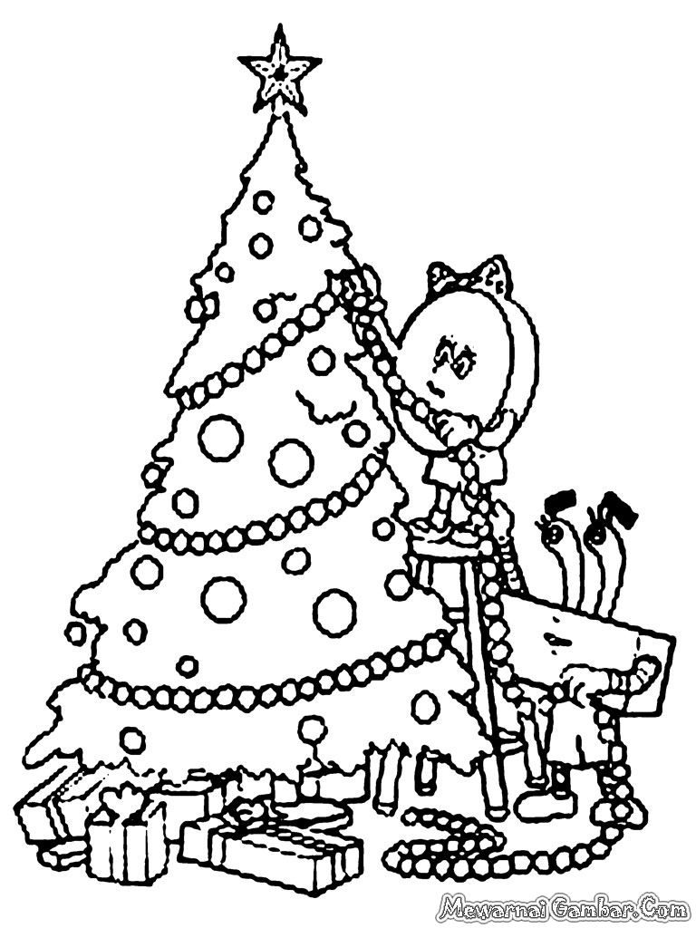 Gambar menghias pohon Natal untuk diwarnai