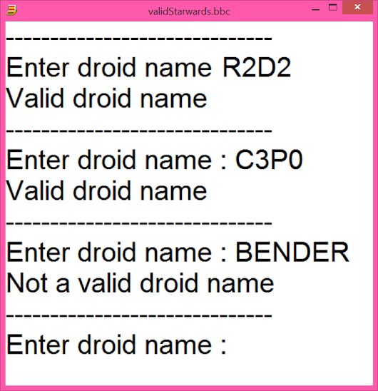 Checking for Valid Droid Names