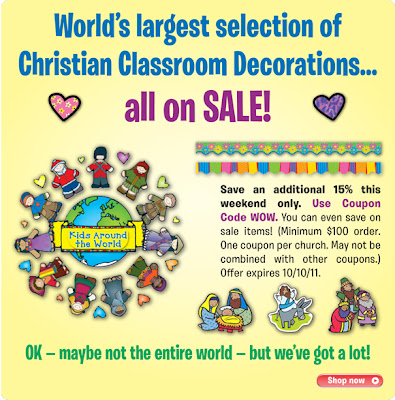 Childrens ministry blog 2011 use coupon code wow to save an extra 15 on bulletin board sets and classroom decorations this weekend only youll even save on those sets already marked fandeluxe Gallery