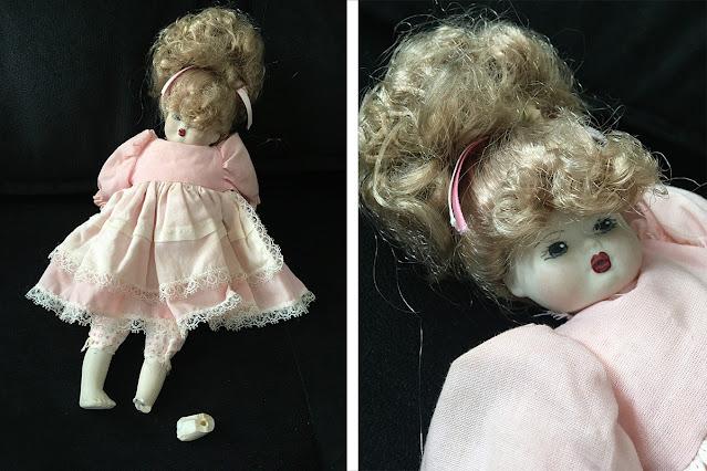 boneca de porcelana quebrada, antes do restauro