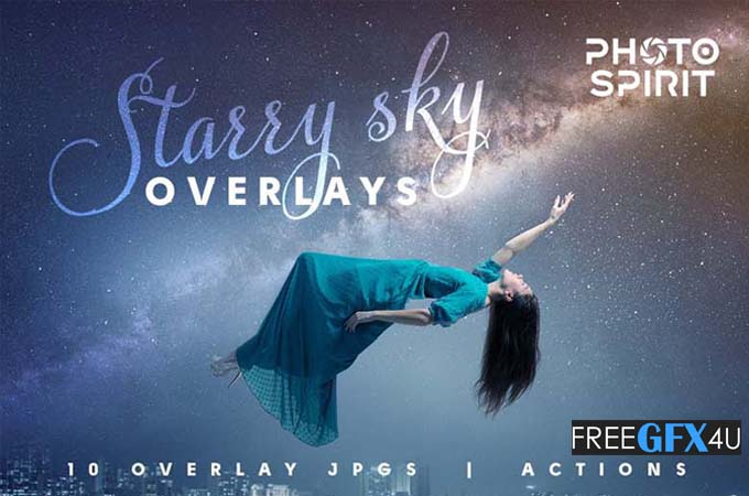 10 Night Sky Starry Overlays And Actions Pack