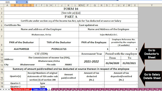 Automated Income Tax Revised form 16 for the F.Y. 2020-21