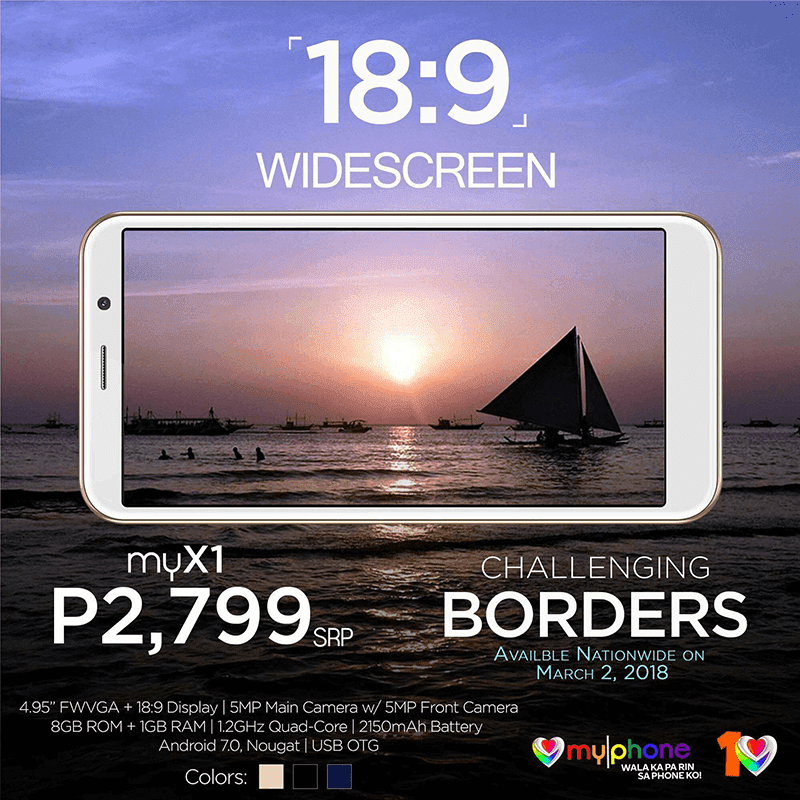 18:9 MyPhone MyX1 is priced at PHP 2,799!