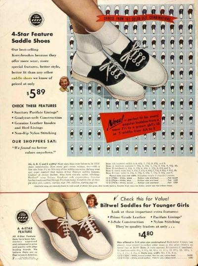 Advertisement from 1953 Sears Catalog feature black and white saddle oxford shoes. One is price $5.89 and one is $4.80