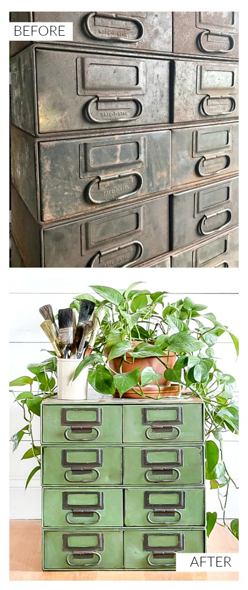 Green painted industrial storage drawers