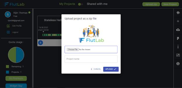 flutter flutlab interface upload