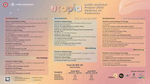"(TOTAL 26 SKP IDI) Symposium and Workshop UTOPIA ""AMSA National Project 2021: Updates on Pediatric"""
