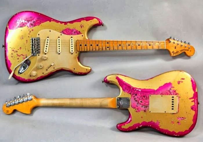 I Dont Know If The Owner Of This Strat Was Painting A Gold Stratocaster Pink Or Maybe Just Distressing Guitar